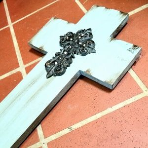 Other - Turquoise Wooden Decorative Cross Wall Art